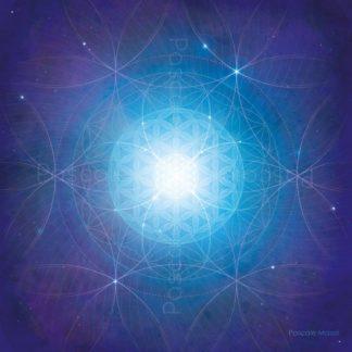 tableau vibratoire bleu, spirales de Fibonacci et fleurs de vie