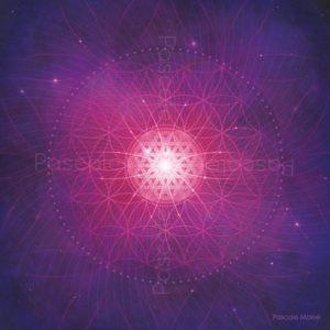Tableau vibratoire violet et rose