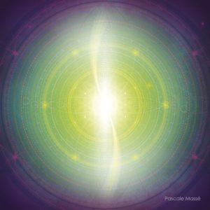 Dessin vibratoire vert et violet composé de Fleurs de vie