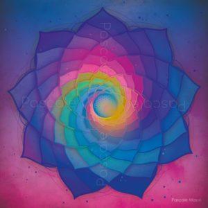 Dessin vibratoire, spirales bleu et rose et fleur de vie