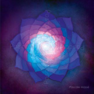 Mandala fleur Lavandula violet, bleu et rose