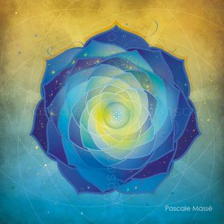 Mandala vibratoire bleu et jaune