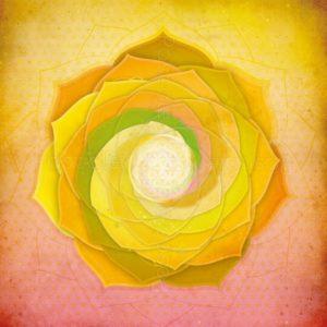 Dessin vibratoire jaune nuancé de vert