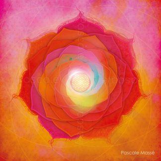 Mandala vibratoire orange et rose