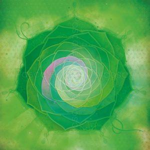Dessin vibratoire vert, fleur de vie et spirales de Fibonacci