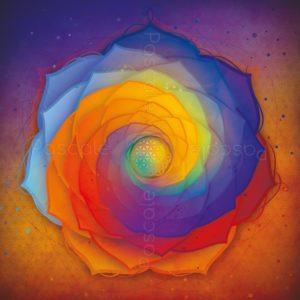 Dessin vibratoire bleu et orange, fleur de vie et spirales de Fibonacci