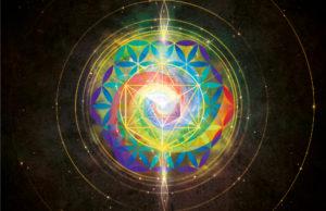 Fleur de vie multicolore et cube de Métatron doré