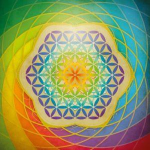 Fleur de vie multicolore imprimée sur toile