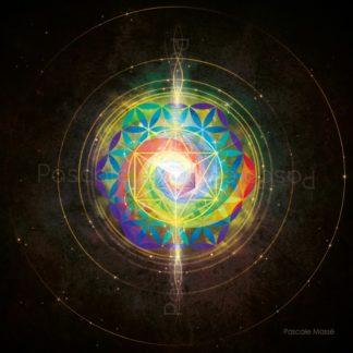 mandala vibratoire, fleur de vie multicolore et cube de Métatron